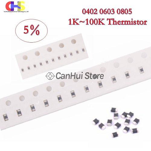 20pcs 0402 0603 0805 5% NTC SMD Thermistor 1K 2.2K 2K 3.3K 4.7K 6.8K 10K 15K 22K 33K 47K 50K 100K Thermal Resistor
