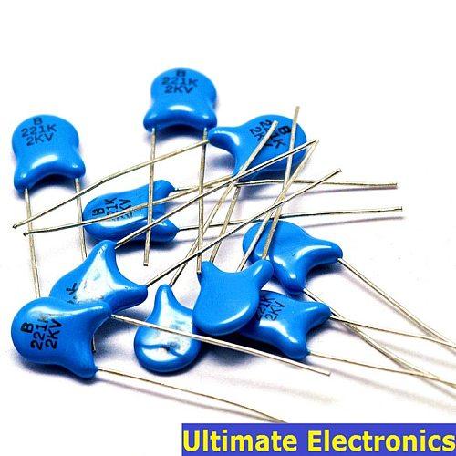 50pcs 220pF 221 2KV 0.22nF High Voltage Ceramic Disc Capacitor