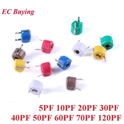 10pcs Adjustable Capacitor 5P 10P 20P 30P 40P 50P 60P 70P 120P Plastic 6mm Trimmer 5PF 10PF 20PF 30PF 40PF 50PF 60PF 70PF 120PF