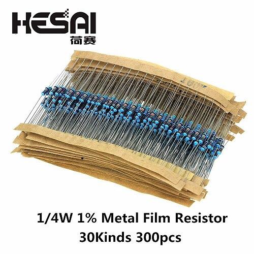 100pcs/set 1/4W Resistance 1% Metal Film Resistor Pack Assorted Kit 1K 2K 4.7K 10K 100K 220K 220ohm 330ohm 680ohm 1M Resistors