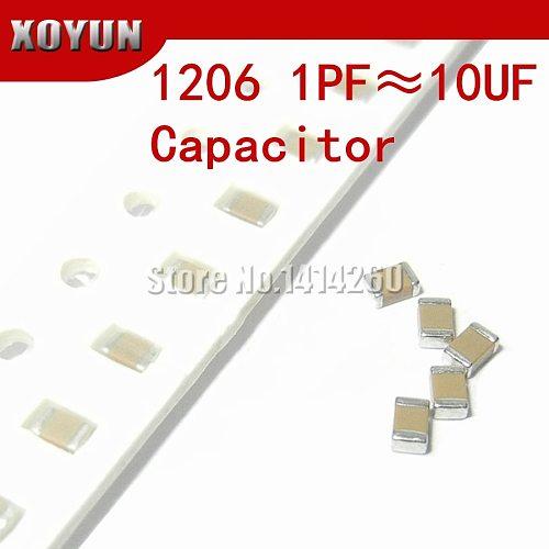 100pcs 1206 50V SMD Ceramic Capacitor 0.5pF- 22uF 10NF 100NF 1UF 2.2UF 4.7UF 10UF