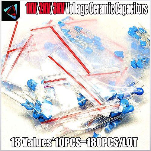 180PCS 18 ValuesX10pcs 1KV 2KV 3KV 22pf~22nf Capacitance Kit High Voltage Ceramic Capacitors Assortment Assorted Kit
