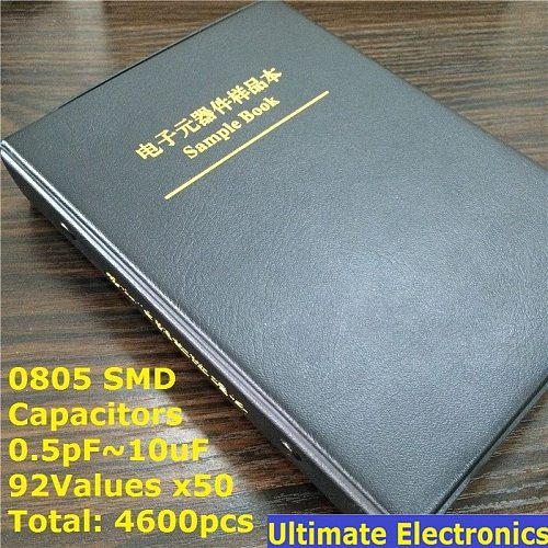0805 SMD SMT Chip Capacitor Sample book  Assorted Kit  92valuesx50pcs=4600pcs (0.5pF to 10uF)