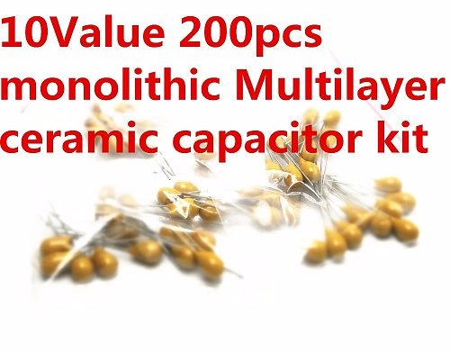 10Value 50V 10pF 20pF 30pF 47pF 56pF 68pF 100pF 1nF 10nF 100nF monolithic Multilayer ceramic capacitor Assortment Kit Good price