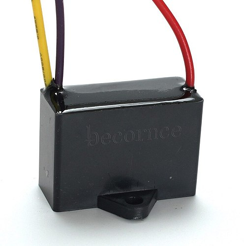 Becornce 1pc Black Fan Capacitor CBB61 1.5uF+2.5uF 3 Wires AC 250V 50/60Hz Capacitor For Ceiling Fan