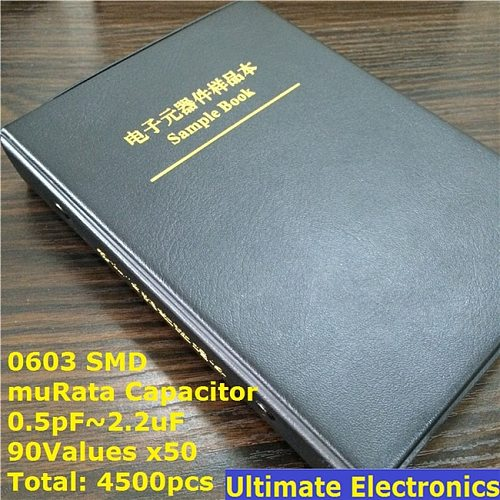 0603 Japan muRata SMD Capacitor Sample book  Assorted Kit  90valuesx50pcs=4500pcs (0.5pF to 2.2uF)