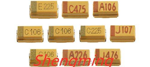 100PCS 3216 105C 475C 106C 226C 106A 105E 476C 106E 16V 25V 1UF 4.7UF 22UF 47UF 10UF A-type 1206 SMD tantalum capacitors