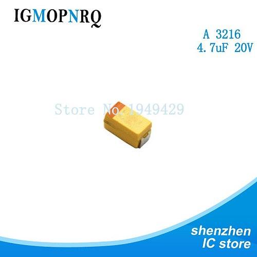 20pcs A 3216 4.7uF 20V SMD tantalum capacitor