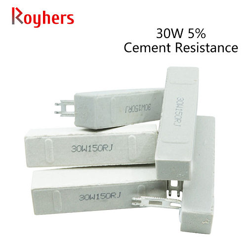 30W High Power Ceramic Cement Resistor 1R 2R 3R 4/5/6/8/10/12/20/25/100 Ohm/200 Ohm 1K 2Ke 1Pcs