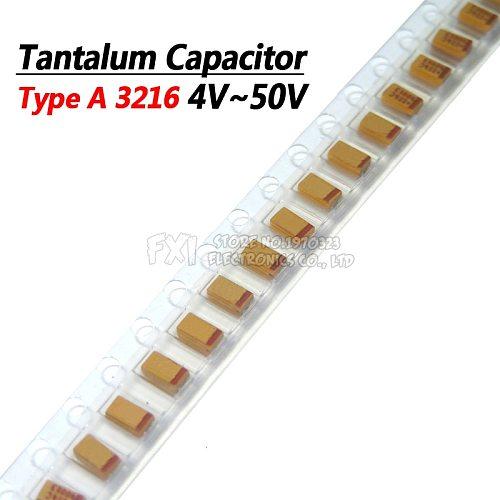 10pcs Type A 100UF 0.22UF 1UF 4.7UF 10UF 22UF 33UF 47UF Tantalum Capacitor 6.3V 10V 16V 25V 35V 226 336 224 475 106 107 476 105