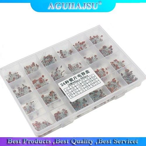 960PCS 24value*40PCS=960PCS 50V Ceramic Capacitor Assorted kit Assortment Set + Box molewei
