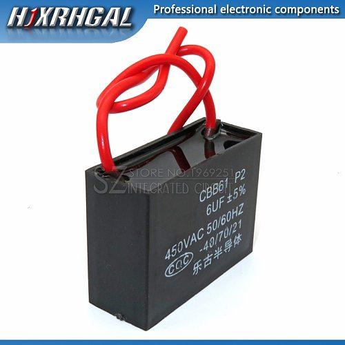 1PCS CBB61 6UF start capacitor hanging Fan soot motor air conditioner 450VAC starting capacitance hjxrhgal