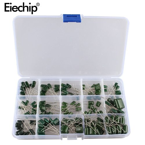 150pcs/lot 100V 15value*10pcs Polyester Film Capacitor assorted kit box assorstment Durable and easy to install  0.33nF-470nF