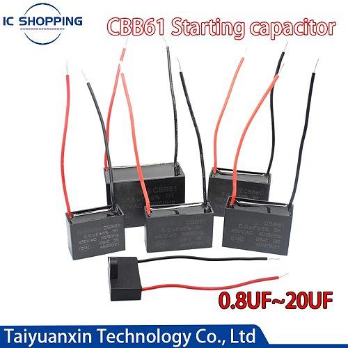 CBB61 Capacitor 0.8 1 1.2 1.5 1.8 2 2.5 3 3.5 4 4.5 5 6 7 8 10 12 15 18 20UF Ceiling Fan Motor Running Rectangle Capacitor