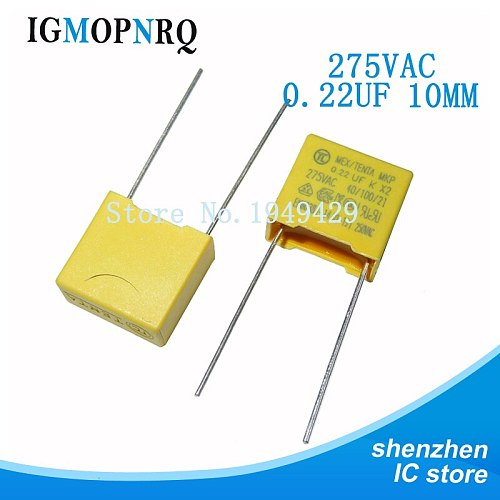 10PCS X2 safety capacitor 275VAC 0.01uF 0.1uf 0.22UF 10MM 0.1uf 0.15UF 0.22uf 0.33uf 0.47UF 15MM 0.68uf 22MM 0.22uf 1.0uf 2.2uf