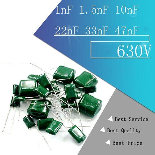 50pcs Polyester film capacitor 630V 1nF 1.5nF 10nF 22nF 33nF 47nF 2J102J 2J152J 2J222J 2J472J 2J682J 2J103J 2J223J 2J333J 2J473J