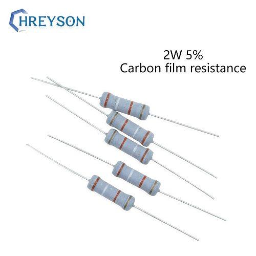 20Pcs 2W 0R-22M Carbon Film Set Of Resistor 5%Tolerance 470K 680K 750K 1M 3M 4.7M 6.8M 7.5M 10M 10 Ohm Electronics Resistance