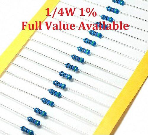 100PCS/LOT 1/4W 680K/750K/820K/1M/1.5M metal film resistor 1% 0.25W resistors 1/4W resistor color ring metal film resistance