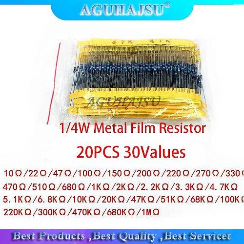 600Pcs 1/4W 1% 20PCS 30Values Metal Film Resistor Assortment Kit Set pack electronic diy kit resistor