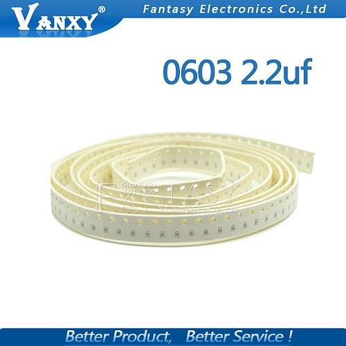 100pcs 2.2uF X5R Error 10% 16V 0603 225 SMD Thick Film Chip Multilayer Ceramic Capacitor