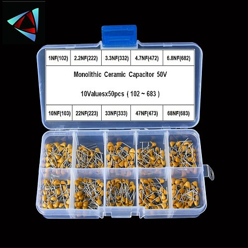 500pcs 10Valuesx50 1nF~68nF (102~683) Multilayer/Monolithic Ceramic Capacitors Assorted kit with storage box