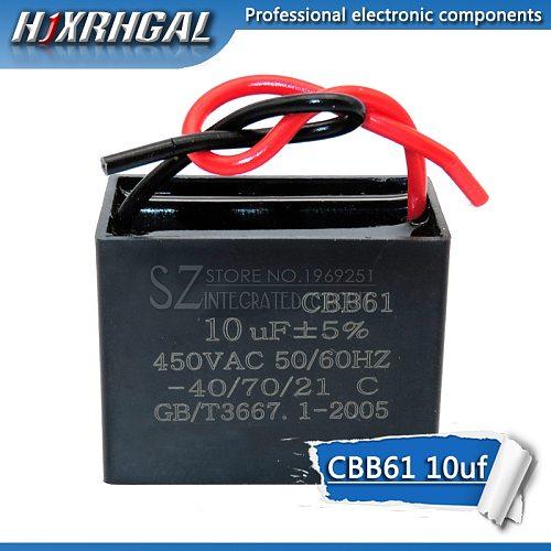 1PCS CBB61 10UF start capacitor hanging Fan soot motor air conditioner 450VAC starting capacitance hjxrhgal
