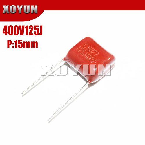 10PCS 400V125J 125J400V Pitch 15MM 400V 125J 1.2UF CBB Polypropylene film capacitor