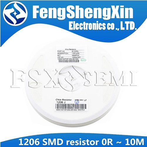 5000pcs/lot 1206 SMD resistor 5% 0R ~ 10M 1/4W 0 1 10 100 150 220 330 ohm 1K 2.2K 10K 100K 0R 1R 10R 100R 150R 220R 330R