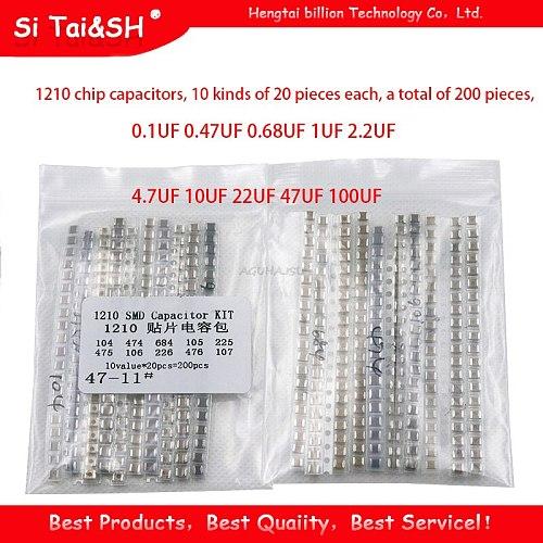 1210 SMD Capacitor assorted kit ,10values*20PCS=200PCS 100nF~100uF Samples Kit electronic diy kit