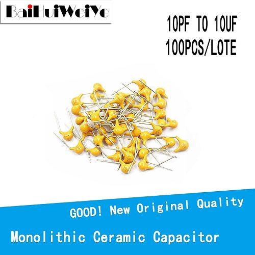 100PCS/LOTE 50V Monolithic Ceramic Capacitor 10PF ~ 10UF  (100~106) 102 103 104 105 22PF 47NF 220NF 1NF 4.7UF 1UF 100NF 330NF