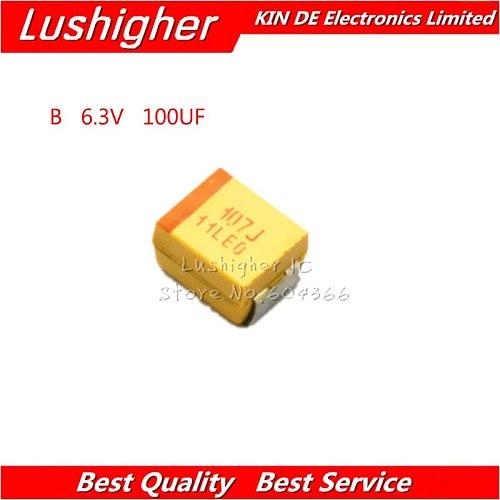 10pcs B 3528 100uF 6.3V 107J 107 SMD Tantalum Capacitor