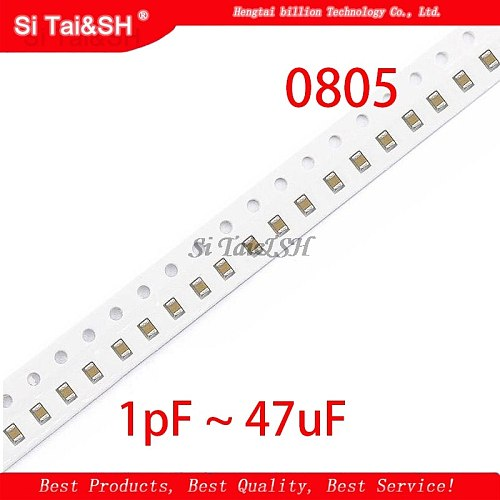 100pcs 100nF X7R Error 10% 50V 0805 0.1UF 104 1pF ~ 47uF SMD Thick Film Chip Multilayer Ceramic Capacitor