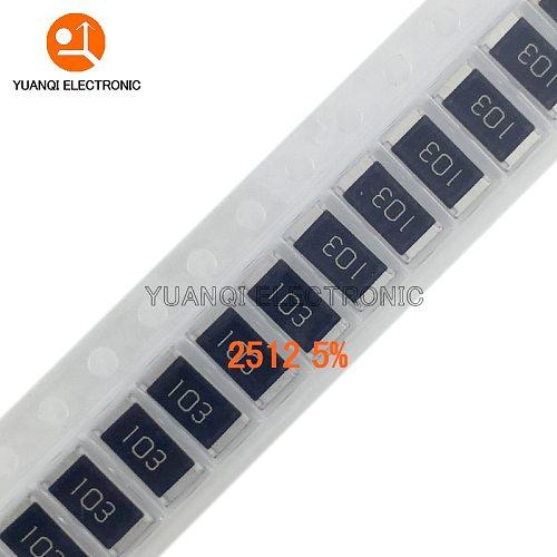 100pcs 2512 5% 1W SMD Chip Resistor resistors 0R - 10M 0 10 100 220 470 ohm 0R 10R 100R 220R 470R 1K 2.2K 4.7K 10K 100K 1M 10M