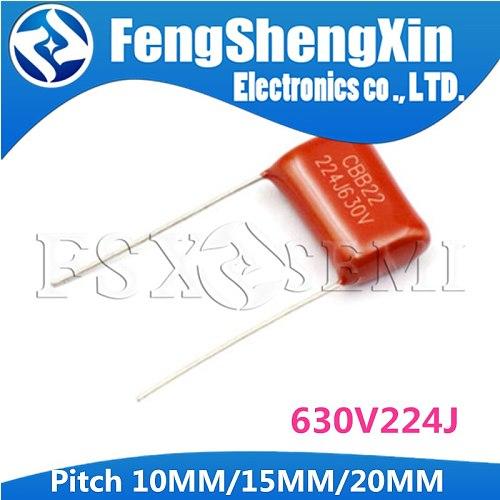 10PCS CBB22 630V224J 0.22UF Pitch 10MM/15MM/20MM 224 630V 220nf CBB Polypropylene film capacitor
