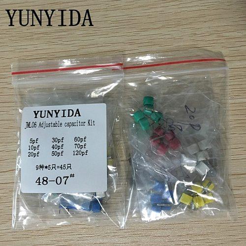 Free Shipping 45pcs=9value*5pcs trimmer Adjustable capacitor Assortment Kit JML06 5pf 10pf 20pf 30pf 40pf 50pf 60pf 70pf 120pf