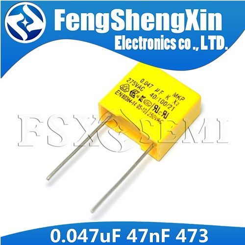 10pcs X2 Safety capacitor 0.047uF 47nF 473 473K P:10MM 15MM Polypropylene film capacitor