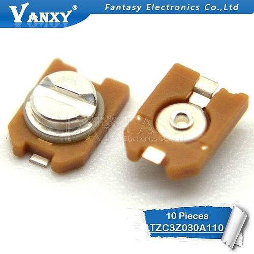 10PCS 3*4 TZC3Z030A110 3PF 3P trimmer Adjustable capacitor