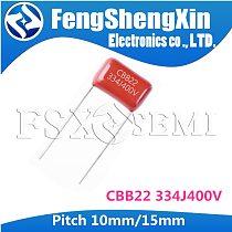 10PCS CBB22 400V334J 0.33UF Pitch 10mm 15mm 400V 330NF 334 CBB Polypropylene film capacitor