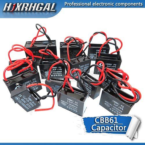 10PCS CBB61 1UF 1.2UF 2UF 2.5UF 3UF 3.5UF 4.5UF 10UF 20UF start capacitor hanging Fan soot motor air conditioner 450VAC hjxrhgal