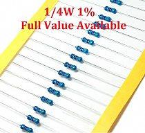 100PCS/LOT 1/4W 75K/82K/100K/110K/120K Ohm metal film resistor 1% 0.25W resistors 1/4W color ring metal film resistance