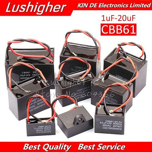 20pcs CBB61 1-20uF Starting Capacitance AC Fan Capacitor 450V CBB Motor  Run Capacitor 1UF 1.2UF 1.5UF 2UF 2.5UF 3UF 3.5UF 4UF