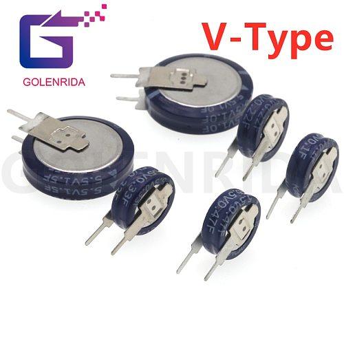 1PCS V type 5.5V Super capacitor 0.1F 0.22F 0.33F 0.47F 1F 1.5F Button Farad capacitor