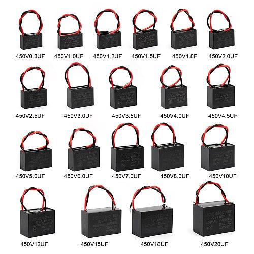 2Pcs CBB61 Fan Start Capacitor 1UF 1.2UF 1.5UF 2UF 2.5UF 3UF 3.5UF 4UF 4.5UF Fan Capacitor Igmopnrq Terminal Motor Capacitance