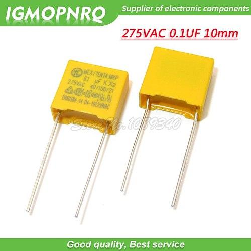 20pcs 100nF capacitor X2 capacitor 275VAC Pitch 10mm X2 275V Polypropylene film capacitor 0.1uF