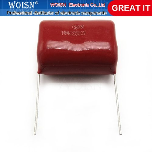 5pcs/lot 0.1uF 2000V 2KV CBB 104 100NF Polypropylene film capacitor pitch 25mm CBB81 In Stock