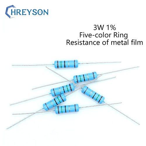 20Pcs 3W Metal Film Set Of Resistor 0R-22M 1% Tolerance 56K 100K 180K 430K 910K 1M 1.5M 2M 2.4M 3M 10 Ohm Electronics Resistance
