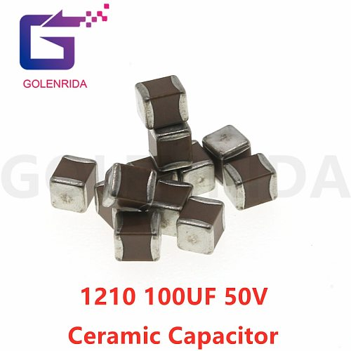 50pcs 1210 100uF 107K 50V X7R 10% SMD Ceramic Capacitor MLCC