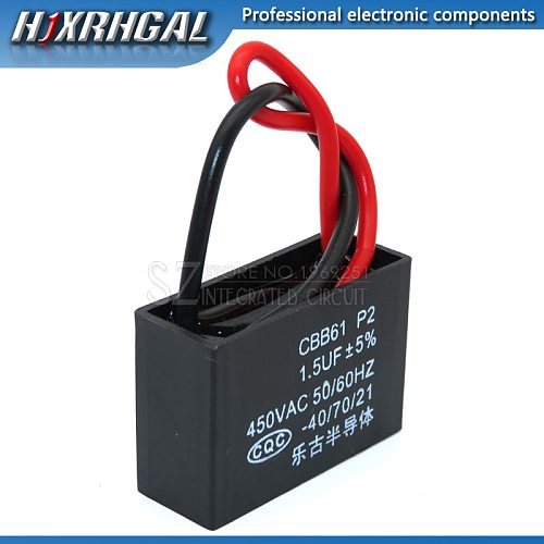 5PCS CBB61 1.5UF start capacitor hanging Fan soot motor air conditioner 450VAC starting capacitance hjxrhgal