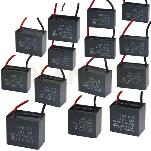 CBB61 450V 1uF 1.2uF 1.3uF 1.5uF 1.8uF 2uf 2.5uF 3uF 3.5uF 4uF 4.5uF 5uF 5.5uF 6uF Terminal Ceiling Fan Motor Running Capacitor