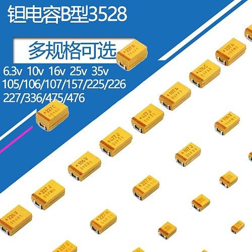 10pcs/lot Type B 3528 Tantalum Capacitor Patch 6.3v 10v 16v 25v 35v1uF 2.2uf 4.7uf 150uf 220uf